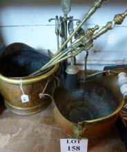 Two copper coal buckets and assorted fire-irons est: £40-£60 (BF24)