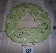 A Chinese white jade Bi with carp carving est: £85-£100