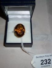 A large quartz 9ct gold ring (size N) est: £80-£120