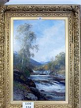 John McWhirter RA (1839-1911) - A gilt framed oil on canvas Scottish landscape with river signed MacW lower left (73 x 47 cm approx) est: £800-£1,200