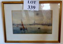 R M Campbell - A framed and glazed watercolour Thames river scene signed lower right (17 x 27 cm approx) est: £50-£80