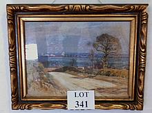 John Alfred Arnesby Brown (1866-1955) - A framed mixed media on paper laid on canvas Haddiscoe Norfolk country road with landscape beyond signed Arnesby Brown (30 x 40 cm approx) est: £800-£1,200