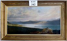 Alexander Nasmyth (1758-1840) - Loch scene with landscape beyond and figures in the foreground (re-lined) signed and dated lower right 1837 (34 x 65 cm approx) est: £650-£850