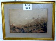 Paul Sandby (School of) - A framed and glazed watercolour landscape scene with figures in the foreground signed Paul Sandby 1767 (some marks) est: £120-£180
