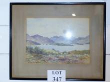 James Bayne - A framed and glazed watercolour mountainous landscape with cattle by a lake (25 x 35 cm approx) est: £80-£120