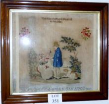 A fine rosewood framed and glazed sampler 'The Kind Shepherd Speaking to his Child' dated 1857 (56 x 61 cm approx) est: £200-£400