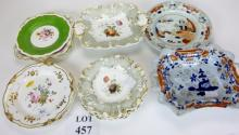 A pair of floral painted 19th century plates and other decorative plates or comport (13)  est: £40-£60 (F21)