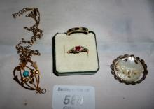 An 18ct gold ruby and diamond ring (size L), a 9ct gold ring, a pendant inset with turquoise on a chain and a carved mother of pearl brooch est: £100-£200