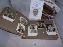An album of signed celebrity star photos to include Peter Lawford, Tony Bennett, Louis Armstrong and Norman Wisdom and a Rugby souvenir brochure est: £50-£80