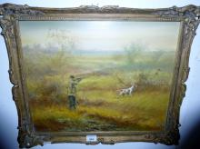 A 20c framed oil on canvas man out shooting with his gun dog unsigned (40 x 50 cm approx) est: £50-£80