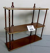 An Edwardian mahogany small open wall shelf with turned column supports est: £40-£60