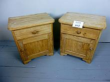 A pair of 19c pine bedside cupboards each with a single drawer and cupboard est: £50-£100