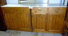 Two pine kitchen cupboards with pine marble tops est: £100-£200