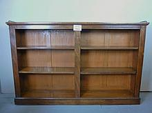 A 19c mahogany freestanding long open double bookcase with brass gallery rail to top est: £300-£500