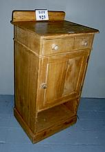 A 19c pine bedside cupboard with drawer est: £25-£40