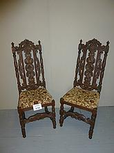 A pair of 19c oak hall chairs est: £50-£80