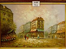 A large framed 20c impressionist style oil depicting a Parisian Street Scene signed Burney lower right est: £50-£80