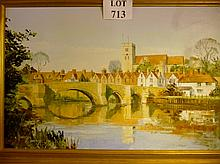 A framed 20c oil on canvas depicting a country village with bridge over river signed Harley Crossley est: £100-£150