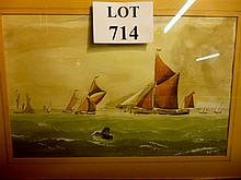 An oak framed and glazed watercolour study of ships at sea signed Basil Adlam est: £30-£50