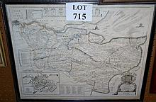 A framed and glazed 19c map of Kent including crest, scales and keys est: £50-£80
