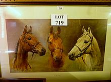 A framed and glazed equestrian print 'We are Kings' depicting three well know horses 'Red Rum, Arkle and Dessert Orchid' est: £30-£50