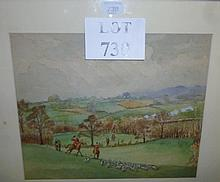 A framed and glazed watercolour hunting scene with huntsmen on horseback following hounds  est: £50-£100