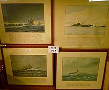 E Tuffnell - Five original watercolour drawings of important battle ships from WWII (one unframed) est: £300-£500