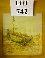 A framed and glazed watercolour study of a fisherman and boat in Brighton 1955 'Fisherman Rest' signed by F Sherrington Legg lower left bears SE Federation of Art Societies label verso est: £40-£60