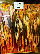 A 20th century framed and glazed mixed media abstract,  entitled verso 'Subterranean Light' 59 cm x 47 cm approx est: £25-£40