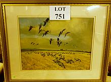 A framed and glazed Peter Scott wildlife print depicting birds grazing and in flight bears printed signature lower left est: £40-£60