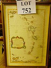 A small framed and glazed reproduction map of 'The Caribbee Islands' infor verso based on a map by Thomas Jeffery from Gentleman's Magazine 1956 est: £25-£45