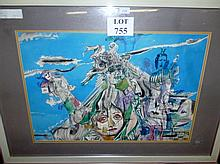 Gyula SUGAR (Hungarian 1924-1991) - A framed and glazed watercolour  entitled 'Hesperides', bears label for Artbureau Budapest, 50 cm x 70 cm approx est: £220-£320