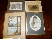Four various pictures to include a watercolour signed E H Charnley and a print of 'Shakespeare's Birth Place' est: £30-£50