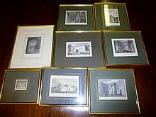 A box containing eight framed and glazed architectural prints to include 'Timbre Royal' and 'Fontaine de Grenelle' est: £50-£80
