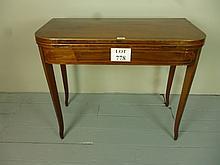 A Georgian mahogany cross banded turn over tea table est: £90-£120