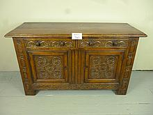 A 19c oak sideboard with two drawers over cupboard doors est: £80-£120