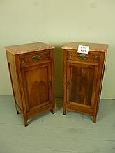A fine pair of satin walnut French bedside cupboards with red marble tops over drawer and cupboard beneath est: £100-£150