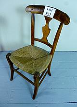 A 19c country child's chair with rush seat est: £20-£30