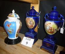 A Dresden style vase and cover and a pair of Victorian decorative urns and covers est: £30-£50 (A2)