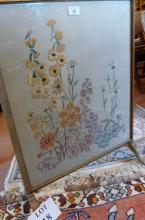 A floral embroidered panel mounted as a fire screen est: £30-£50 (A4)