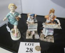 A Royal Worcester figurine 'Thursday's child has far to go'; and a pair of Continental figurines (a/f) est: £25-£45 (O5)