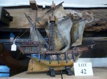 A wooden model galleon with cloth sails est: £25-£45 (AB11)