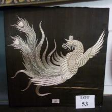 A decorative Oriental embroidered picture on silk depicting a cockerel in silver thread est: £20-£40 (E)