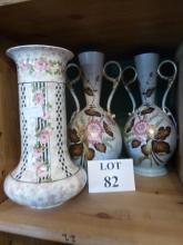 A Crown Ducal vase and a pair of decorative flower painted vases (a/f) est: £30-£50 (B10)