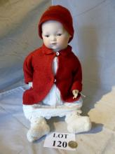 An Armand Marseille bisque headed doll numbered 'A.M. 341.78.K' c.1924 with composite body and having opening brown glass eyes (some a/f) est: £50-£70 (B33)