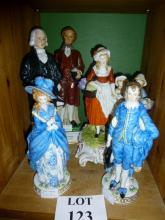 Three various decorative figurines to include a Yardley Lavender group and a pair of spirit bottles and lids by Trenton Spirits Ltd modelled as US Presidents (a/f) est: £50-£70 (B31)
