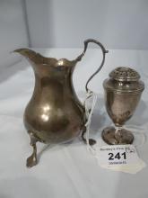 A silver cream jug (minor dents & hallmarks worn) and a silver Georgian pepper pot (a/f) est: £40-£60