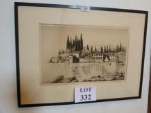 Job Nixon - A framed etching San Vigilio label verso signed in pencil est: £70-£100