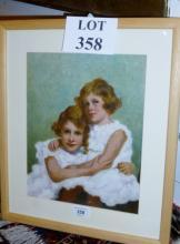 A framed and glazed oil on canvas childhood portrait of Princess Elizabeth and Princess Margaret (12'' x 10'' approx) est: £100-£150