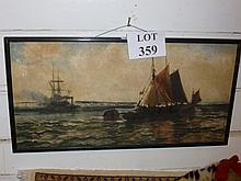 Edward Fletcher (1851-1945) - An oil on board steam tug and sail boats signed (12'' x 24'' approx) est: £120-£160